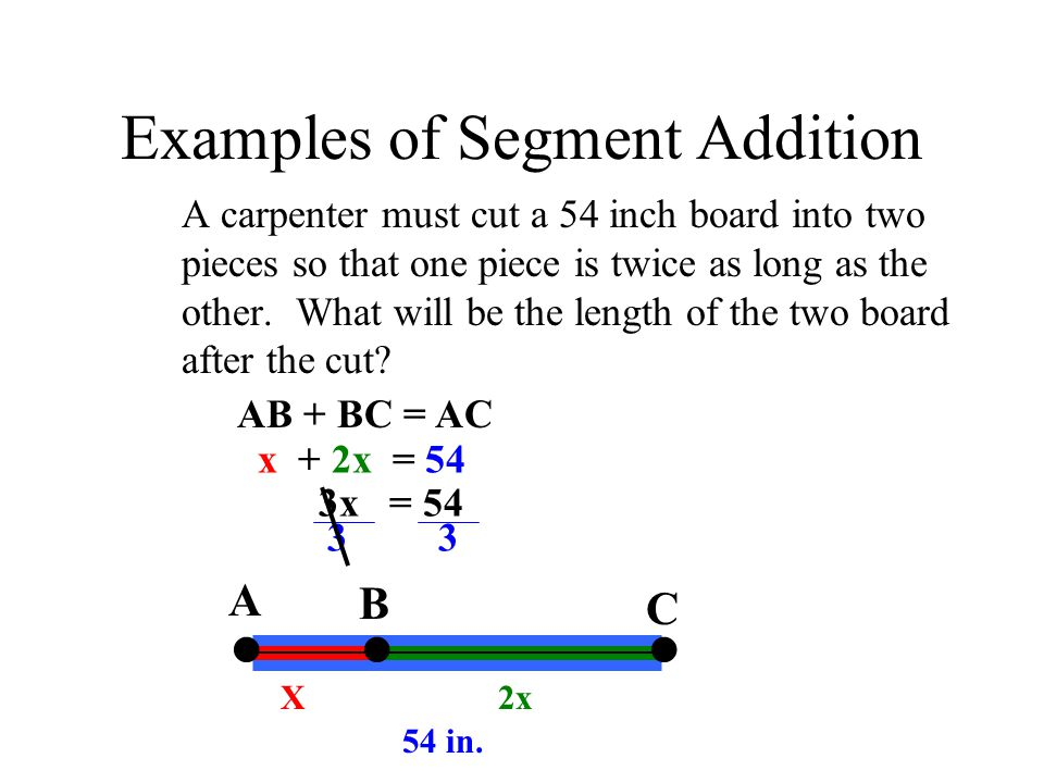 Examples of Segment Addition A carpenter must cut a 54 inch board into two pieces so that one piece is twice as long as the other.