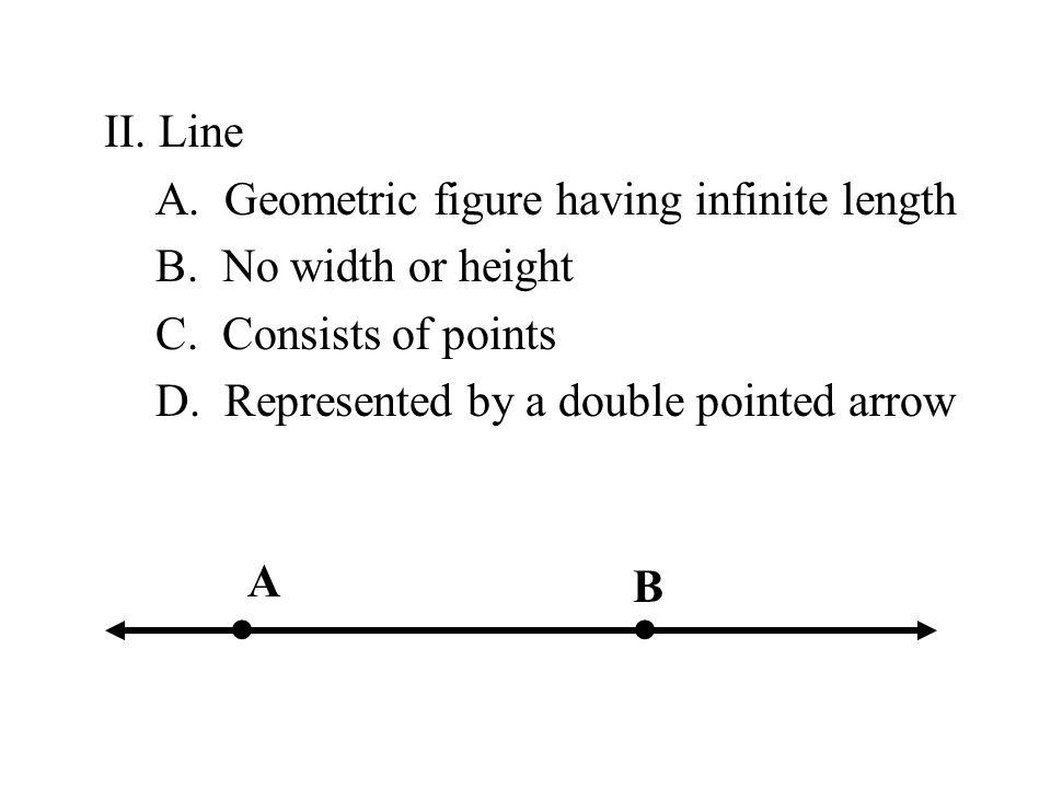 II.Line A. Geometric figure having infinite length B.