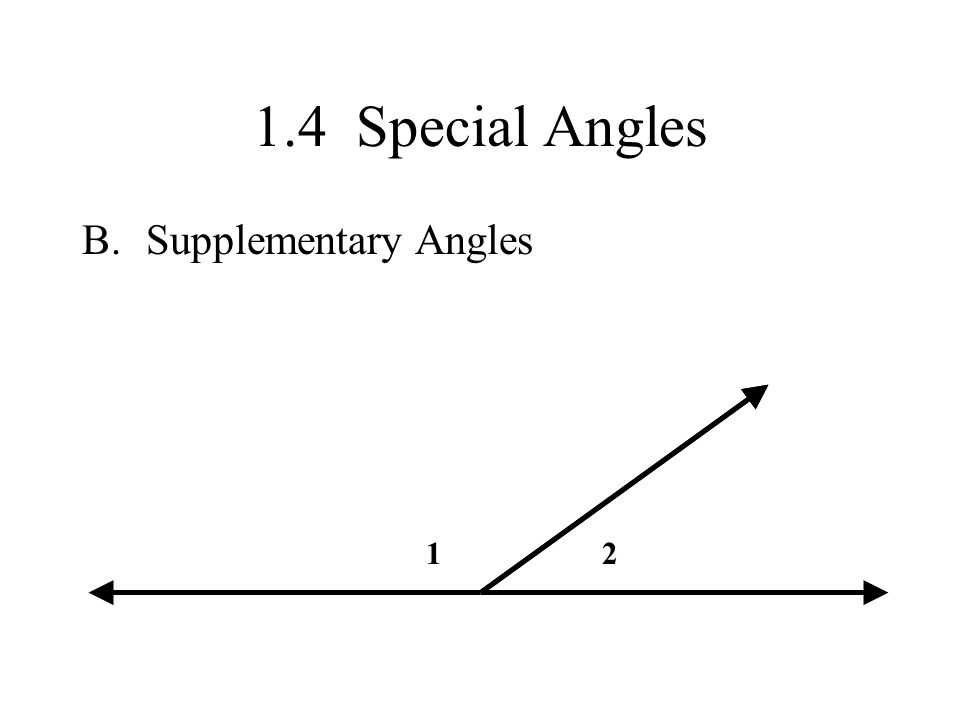 1.4 Special Angles B.Supplementary Angles 12