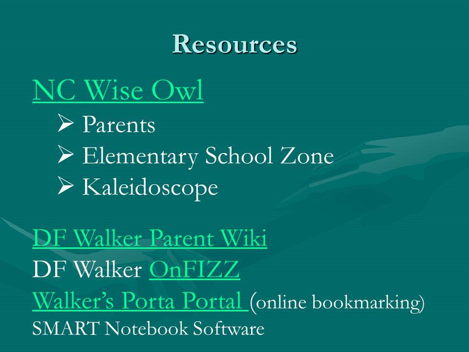 Resources NC Wise Owl  Parents  Elementary School Zone  Kaleidoscope DF Walker Parent Wiki DF Walker OnFIZZOnFIZZ Walker's Porta Portal Walker's Porta Portal ( online bookmarking) SMART Notebook Software