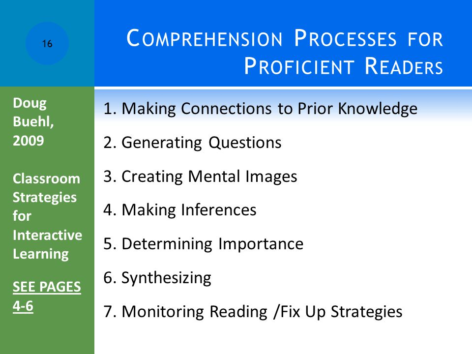 C OMPREHENSION P ROCESSES FOR P ROFICIENT R EAD ERS 1. Making Connections to Prior Knowledge 2. Generating Questions 3. Creating Mental Images 4. Maki