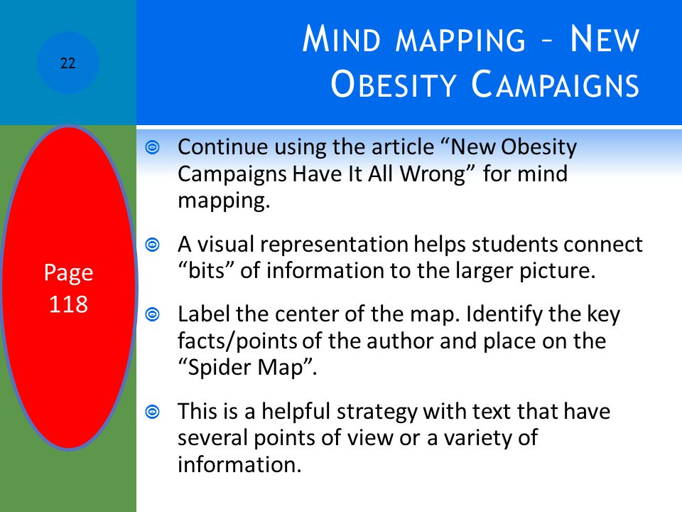 "M IND MAPPING – N EW O BESITY C AMPAIGNS  Continue using the article ""New Obesity Campaigns Have It All Wrong"" for mind mapping.  A visual represent"