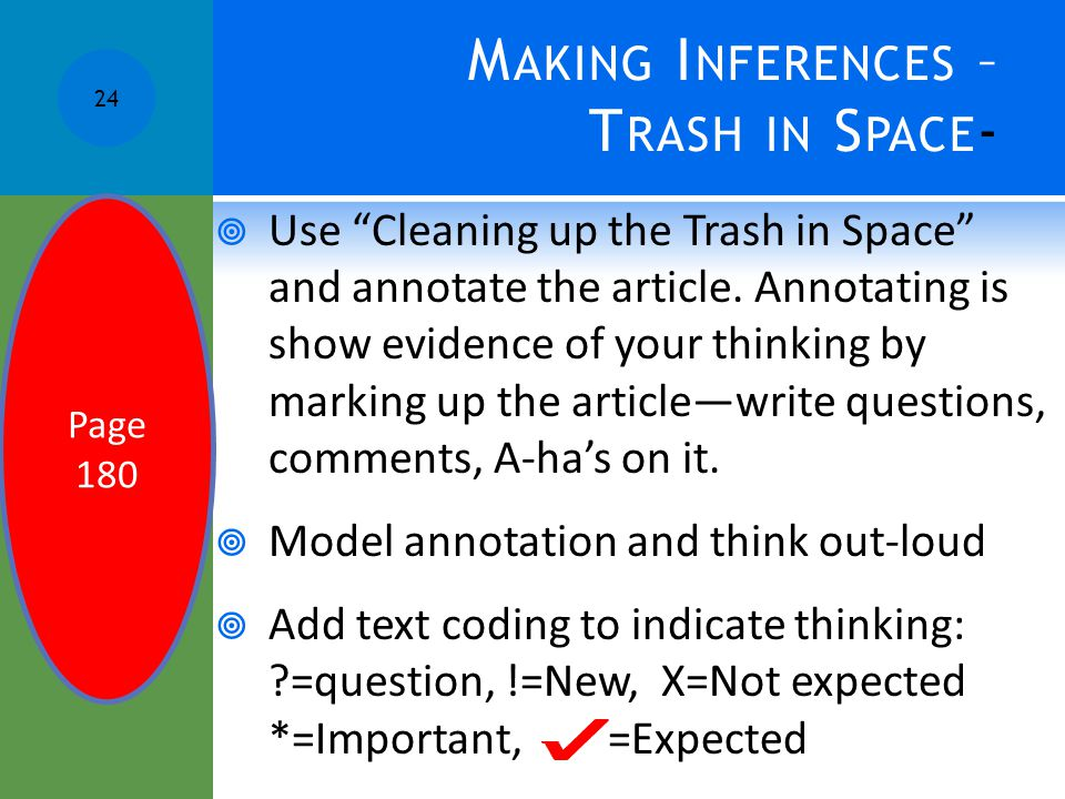 "M AKING I NFERENCES – T RASH IN S PACE -  Use ""Cleaning up the Trash in Space"" and annotate the article. Annotating is show evidence of your thinking"