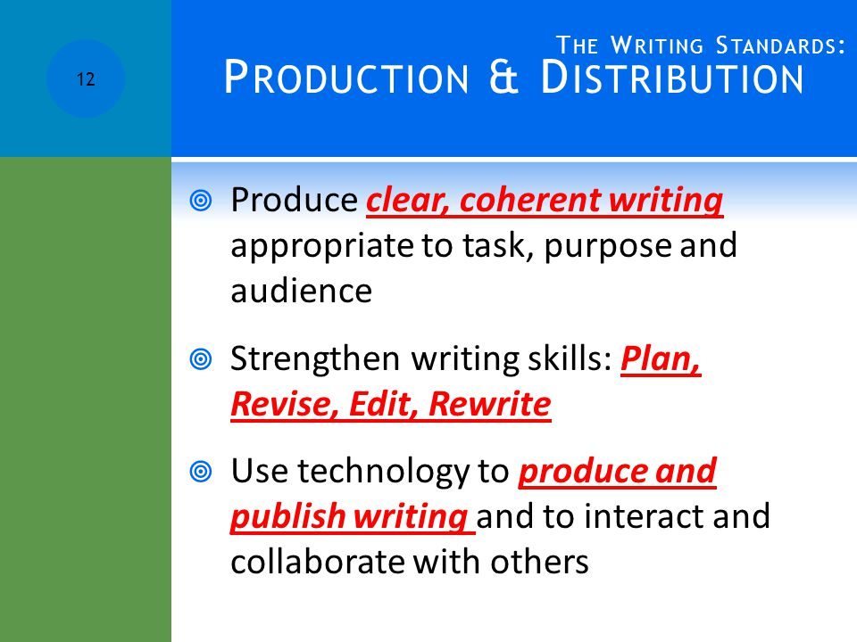 P RODUCTION & D ISTRIBUTION  Produce clear, coherent writing appropriate to task, purpose and audience  Strengthen writing skills: Plan, Revise, Edit, Rewrite  Use technology to produce and publish writing and to interact and collaborate with others 12 T HE W RITING S TANDARDS :