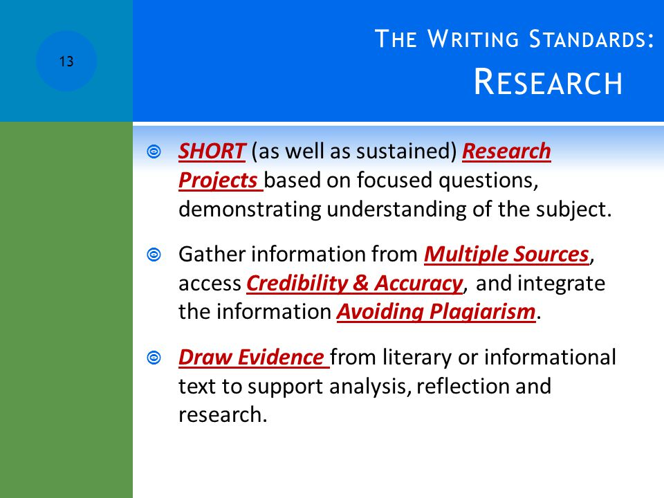 R ESEARCH  SHORT (as well as sustained) Research Projects based on focused questions, demonstrating understanding of the subject.