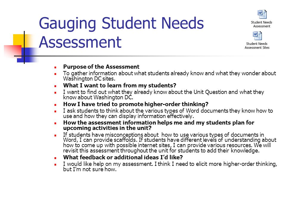 Gauging Student Needs Assessment Purpose of the Assessment To gather information about what students already know and what they wonder about Washington DC sites.