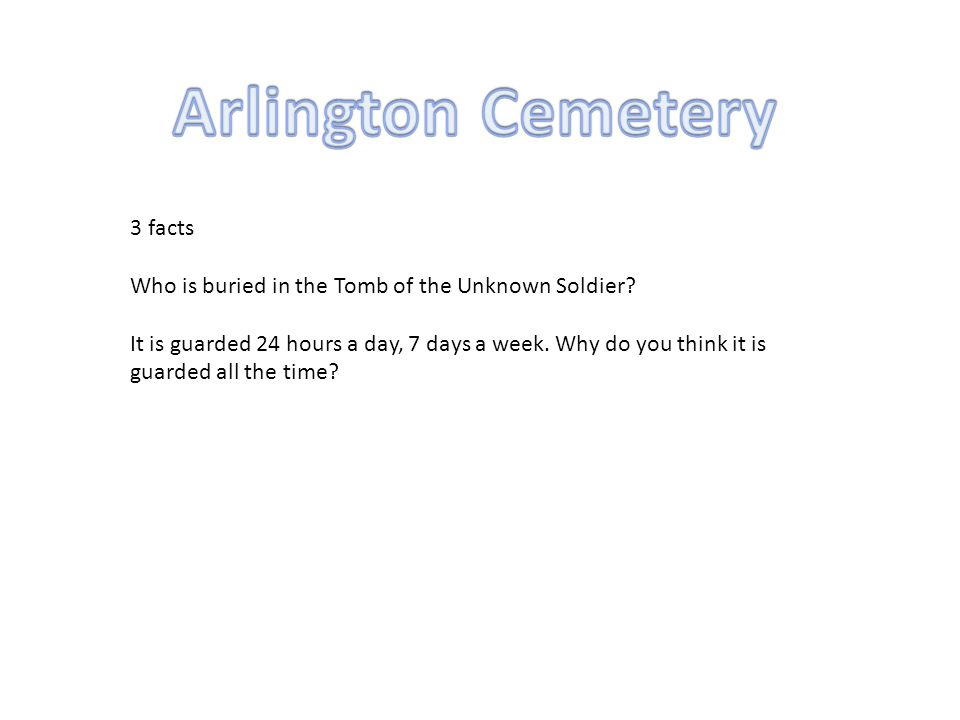 3 facts Who is buried in the Tomb of the Unknown Soldier.