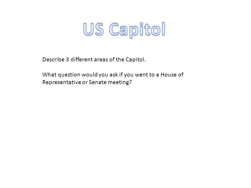 Describe 3 different areas of the Capitol.