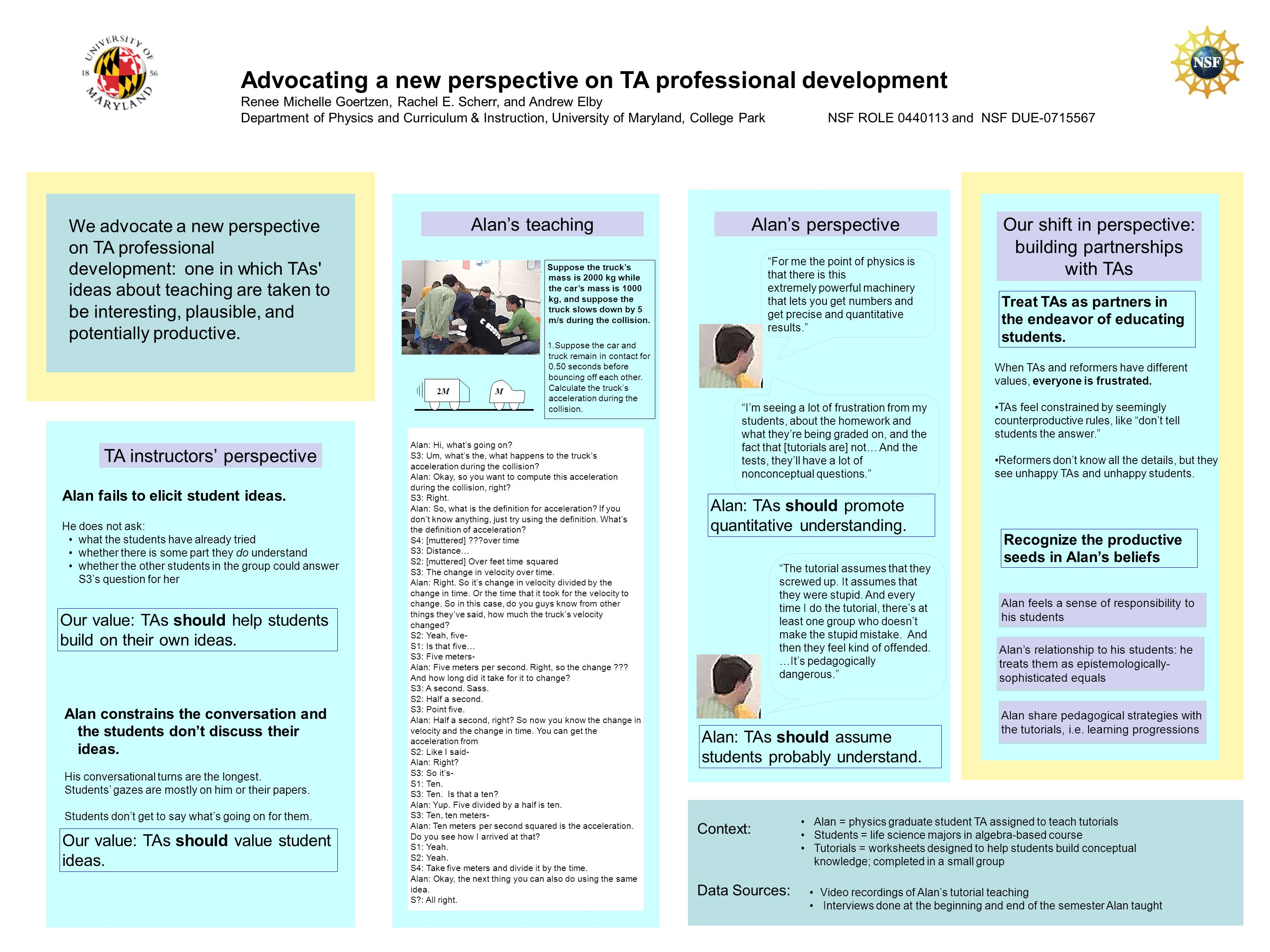 Advocating a new perspective on TA professional development Renee Michelle Goertzen, Rachel E.