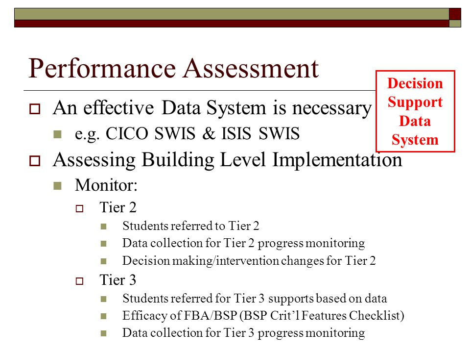 Performance Assessment  An effective Data System is necessary e.g. CICO SWIS & ISIS SWIS  Assessing Building Level Implementation Monitor:  Tier 2