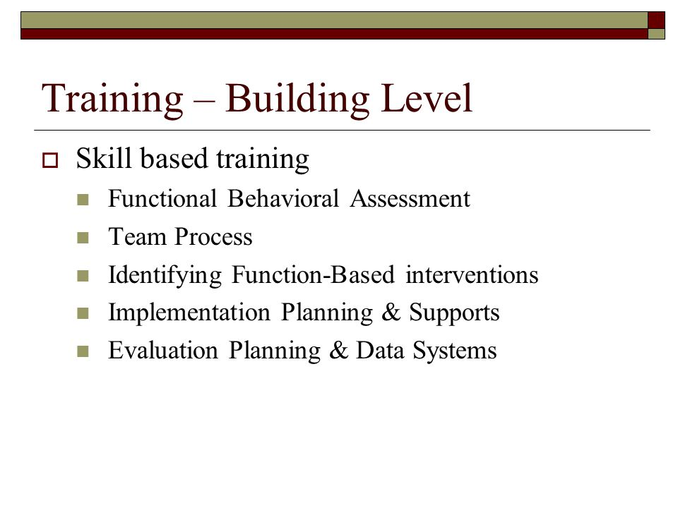Training – Building Level  Skill based training Functional Behavioral Assessment Team Process Identifying Function-Based interventions Implementation
