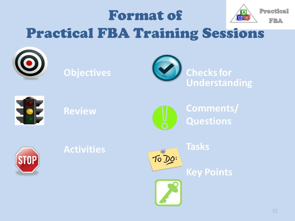Format of Practical FBA Training Sessions Objectives Review Activities Checks for Understanding Comments/ Questions Tasks Key Points 52