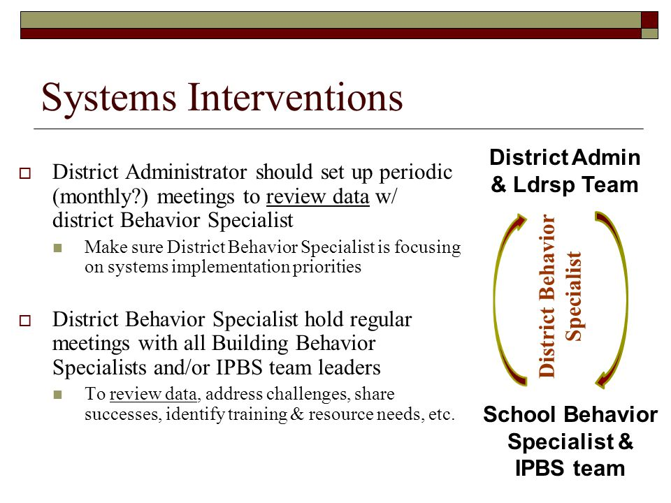 Systems Interventions  District Administrator should set up periodic (monthly?) meetings to review data w/ district Behavior Specialist Make sure Dis