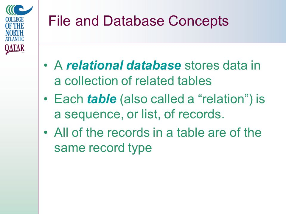 File and Database Concepts A relational database stores data in a collection of related tables Each table (also called a relation ) is a sequence, or list, of records.