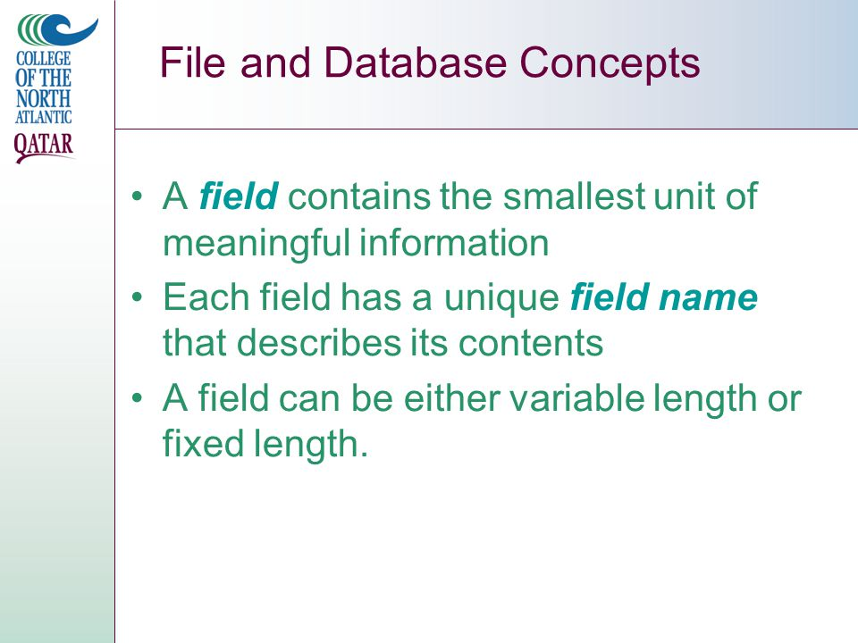 Section A File and Database Concepts A record refers to a collection of data fields