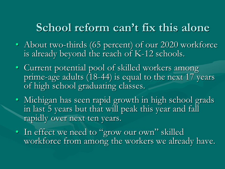 School reform can't fix this alone About two-thirds (65 percent) of our 2020 workforce is already beyond the reach of K-12 schools.About two-thirds (65 percent) of our 2020 workforce is already beyond the reach of K-12 schools.