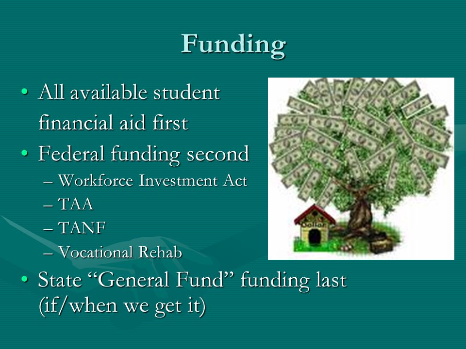 Funding All available studentAll available student financial aid first Federal funding secondFederal funding second –Workforce Investment Act –TAA –TANF –Vocational Rehab State General Fund funding last (if/when we get it)State General Fund funding last (if/when we get it)