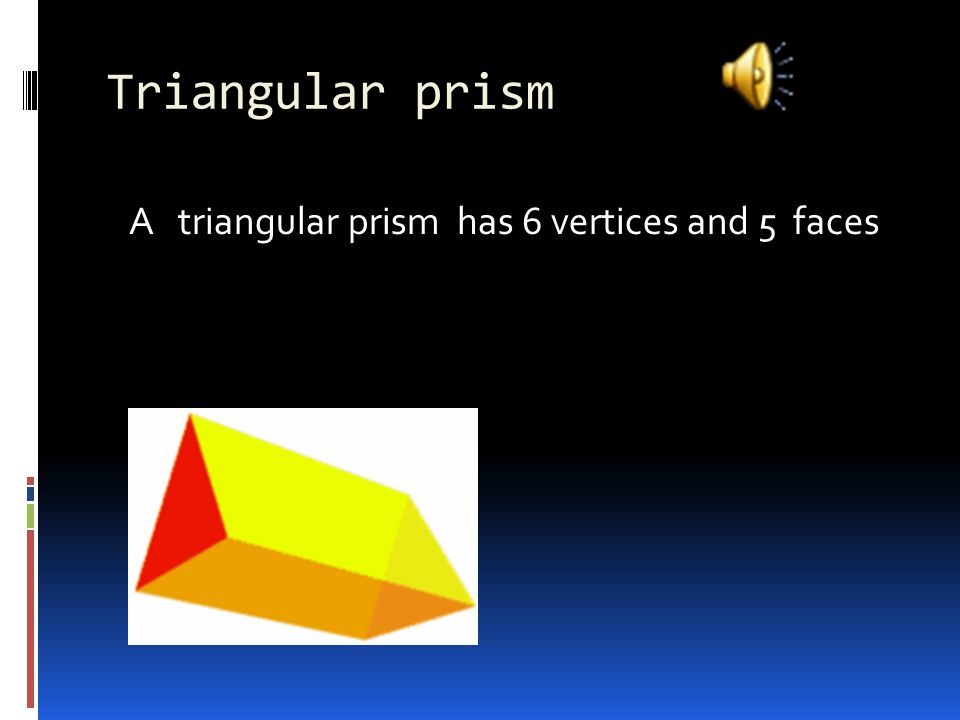 Rectangular prism A rectangular prism has 8 vertices 6 faces and 12 edges
