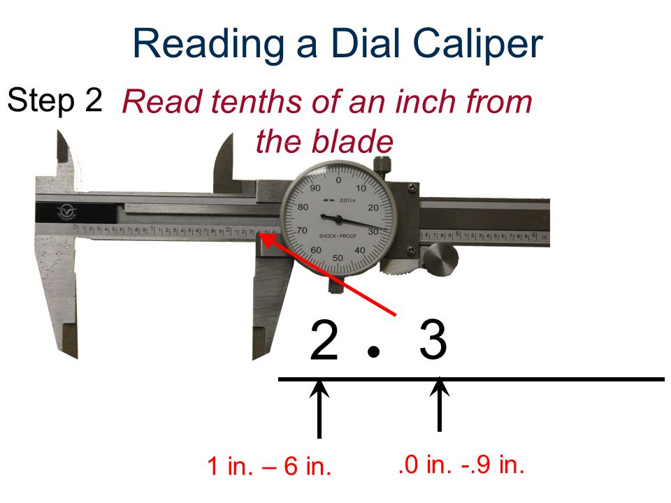 Step 3Read thousandths of an inch from the dial Reading a Dial Caliper 1 in.