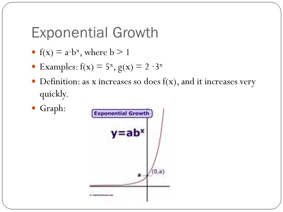 Exponential Decay f(x) = a∙b x, where 0 < b < 1 Examples: f(x) = (1/2) x, g(x) = 3 ∙(3/5) x Definition: as x increases, f(x) decreases quickly, but never reaches zero.