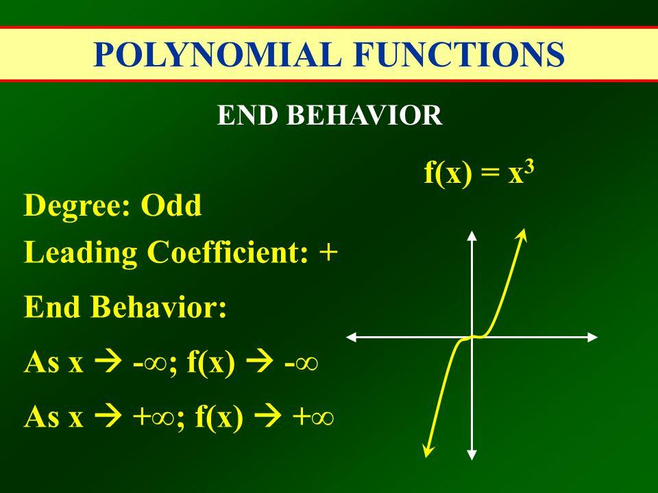 POLYNOMIAL FUNCTIONS END BEHAVIOR Degree: Odd Leading Coefficient: + End Behavior: As x  -∞; f(x)  -∞ As x  +∞; f(x)  +∞ f(x) = x 3