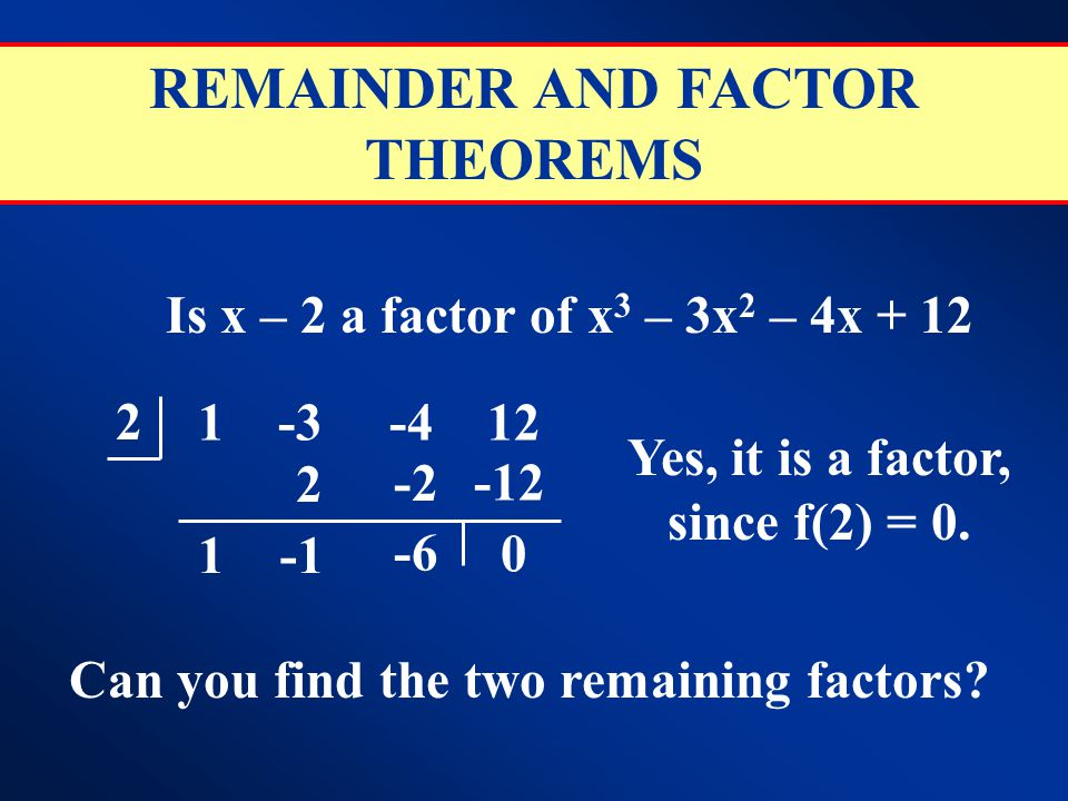 REMAINDER AND FACTOR THEOREMS Is x – 2 a factor of x 3 – 3x 2 – 4x + 12 2 1 -3 -4 12 1 2 -2 -6 -12 0 Yes, it is a factor, since f(2) = 0. Can you find