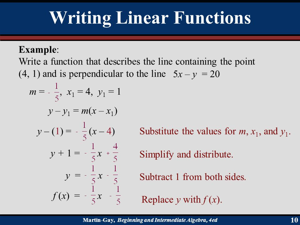 Martin-Gay, Beginning and Intermediate Algebra, 4ed 10 Example: Write a function that describes the line containing the point (4, 1) and is perpendicu