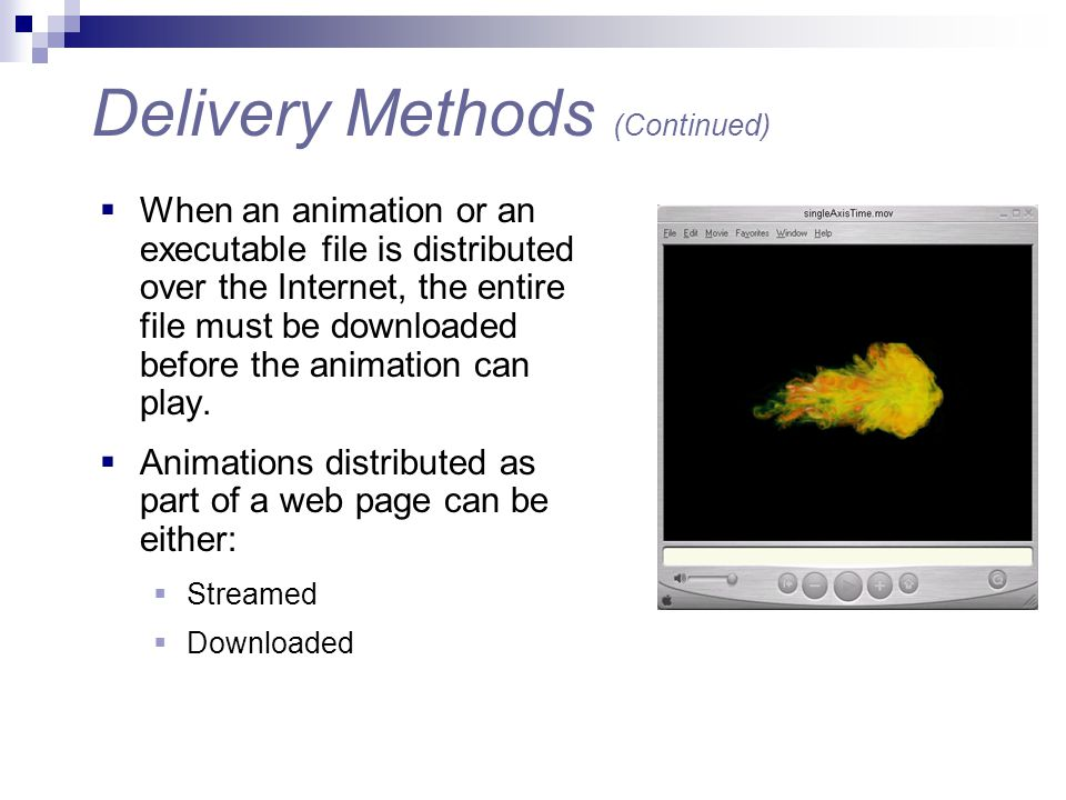  When an animation or an executable file is distributed over the Internet, the entire file must be downloaded before the animation can play.  Animat