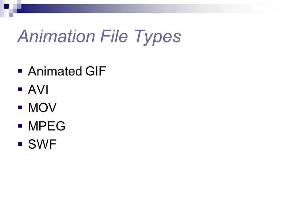 Animation File Types  Animated GIF  AVI  MOV  MPEG  SWF