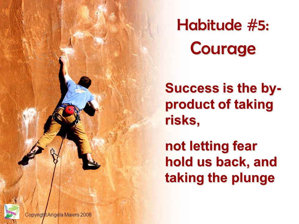 Copyright Angela Maiers 2008 Habitude #5: Courage Success is the by- product of taking risks, not letting fear hold us back, and taking the plunge