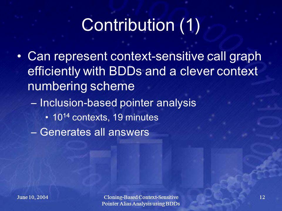 June 10, 2004Cloning-Based Context-Sensitive Pointer Alias Analysis using BDDs 12 Contribution (1) Can represent context-sensitive call graph efficien