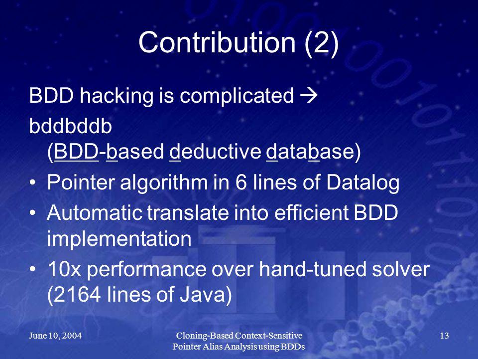 June 10, 2004Cloning-Based Context-Sensitive Pointer Alias Analysis using BDDs 13 Contribution (2) BDD hacking is complicated  bddbddb (BDD-based ded