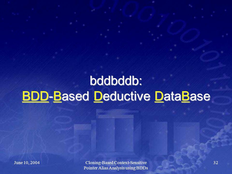 June 10, 2004Cloning-Based Context-Sensitive Pointer Alias Analysis using BDDs 32 bddbddb: BDD-Based Deductive DataBase