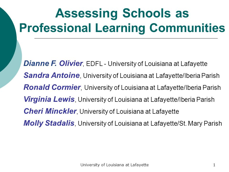 University of Louisiana at Lafayette1 Assessing Schools as Professional Learning Communities Dianne F.