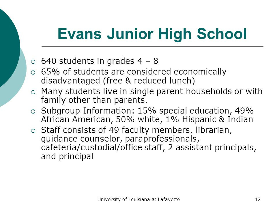 University of Louisiana at Lafayette12 Evans Junior High School  640 students in grades 4 – 8  65% of students are considered economically disadvantaged (free & reduced lunch)  Many students live in single parent households or with family other than parents.