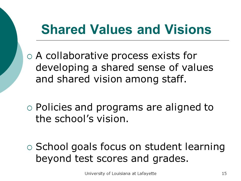 University of Louisiana at Lafayette15 Shared Values and Visions  A collaborative process exists for developing a shared sense of values and shared vision among staff.