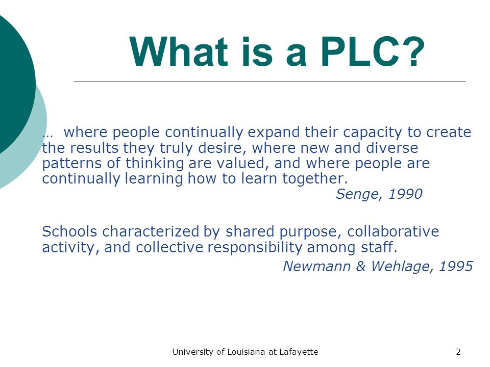 What is a PLC? Professionals coming together in community to intentionally learn. Shirley Hord