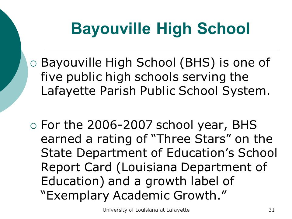 University of Louisiana at Lafayette31 Bayouville High School  Bayouville High School (BHS) is one of five public high schools serving the Lafayette Parish Public School System.