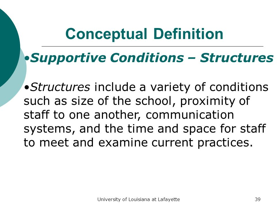 University of Louisiana at Lafayette39 Conceptual Definition Supportive Conditions – Structures Structures include a variety of conditions such as size of the school, proximity of staff to one another, communication systems, and the time and space for staff to meet and examine current practices.