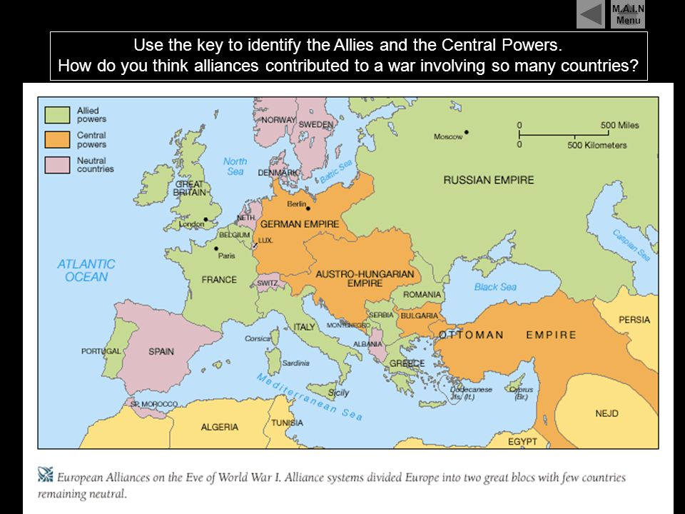 The Central Powers were the states of Germany, Austria-Hungary, The Ottoman Empire, and Bulgaria, which fought against the Allies during World War One
