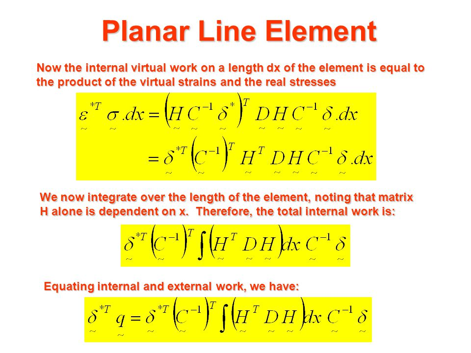 Planar Line Element  v1* v2*  V1  1  2 V2 21 Real Actions Virtual displacements Equilibrium Equation in Element Co-ordinates virtual nodal displacements  associated virtual internal state of strain