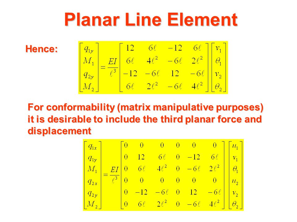 Planar Line Element Hence: This stiffness matrix could have been constructed directly by considering the response of the line element to individual nodal displacements via the slope-deflection equations, (see 421-307 notes ).