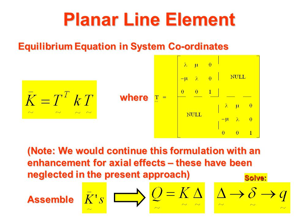 Planar Line Element Hence: For conformability (matrix manipulative purposes) it is desirable to include the third planar force and displacement
