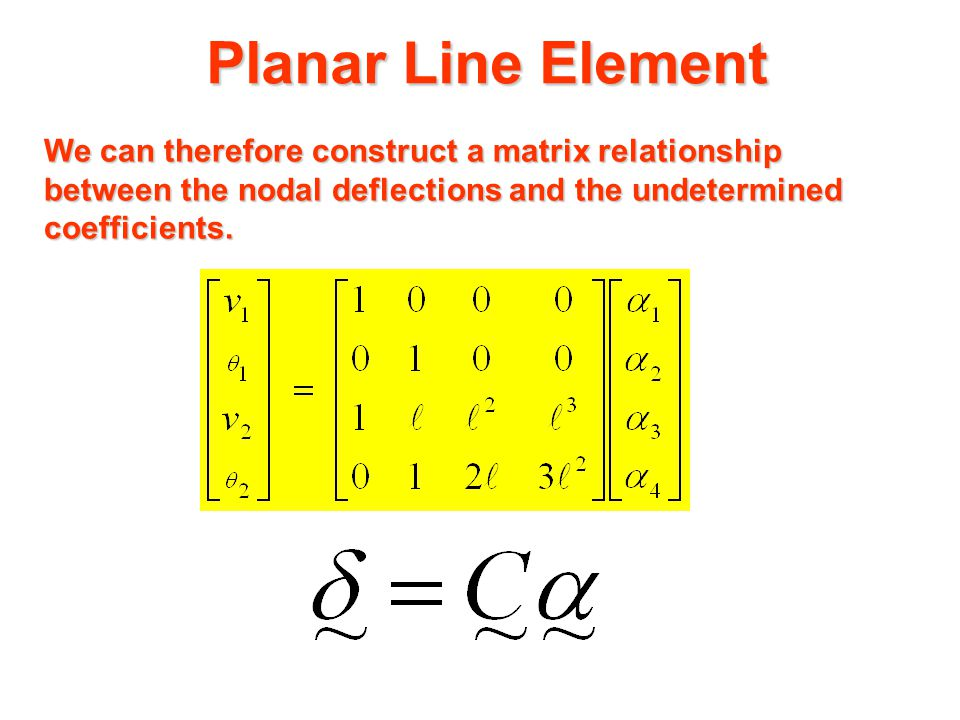 Planar Line Element We now turn our attention to the nodal deflections. The nodal rotations  can be found as follows. The slope at any point along th