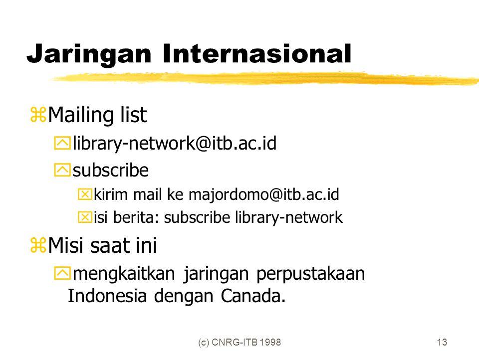 (c) CNRG-ITB 199813 Jaringan Internasional zMailing list ylibrary-network@itb.ac.id ysubscribe xkirim mail ke majordomo@itb.ac.id xisi berita: subscribe library-network zMisi saat ini ymengkaitkan jaringan perpustakaan Indonesia dengan Canada.