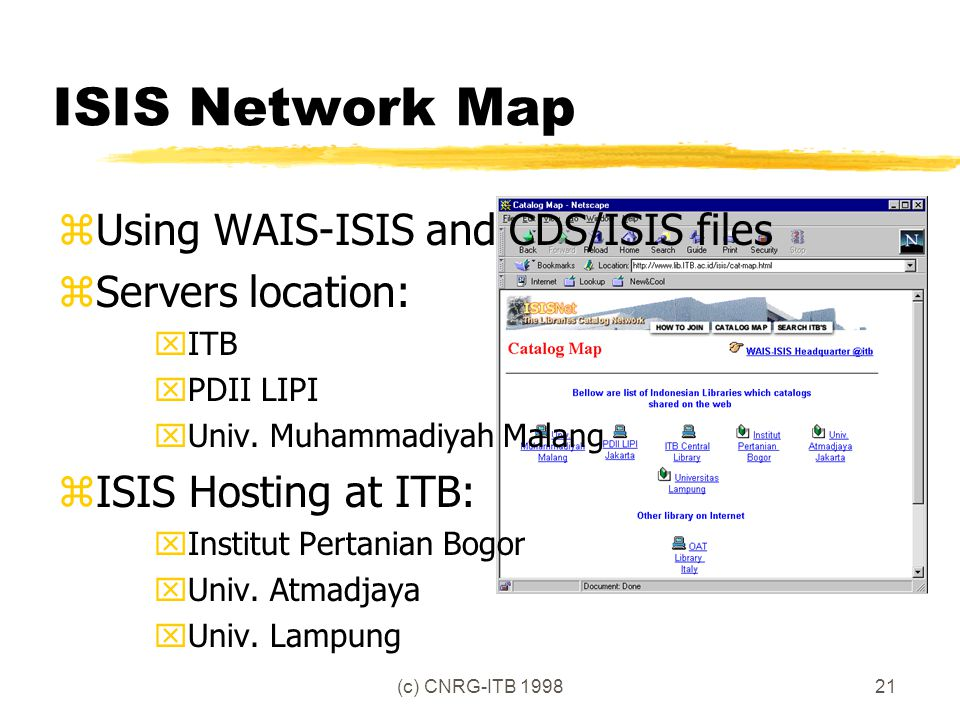 (c) CNRG-ITB 199821 ISIS Network Map zUsing WAIS-ISIS and CDS/ISIS files zServers location: xITB xPDII LIPI xUniv.