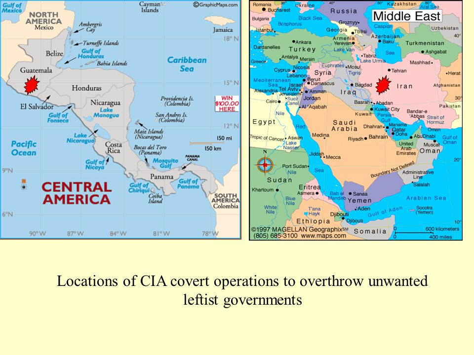 Locations of CIA covert operations to overthrow unwanted leftist governments