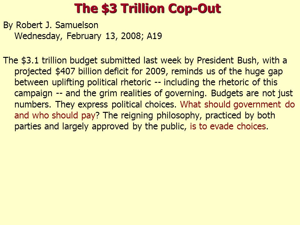 The $3 Trillion Cop-Out By Robert J.