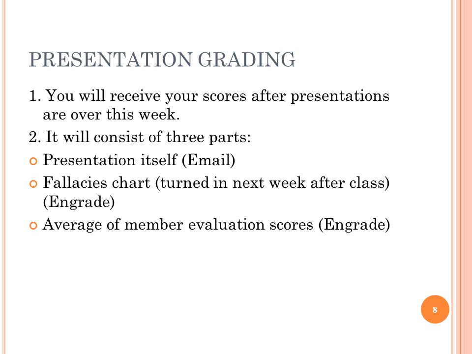 PRESENTATION GRADING 1. You will receive your scores after presentations are over this week.