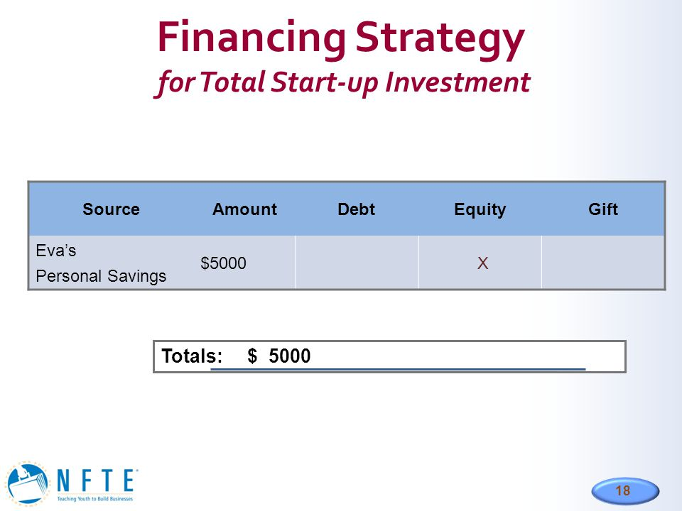 18 Financing Strategy for Total Start-up Investment SourceAmountDebtEquityGift Eva's Personal Savings $5000 X Totals: $ 5000